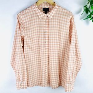 J. Crew Boy Fit Pink Crinkle Gingham Checker Shirt